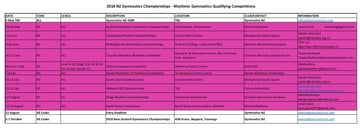 2018 competion timetable